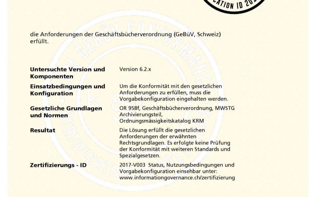 Schweizer Kompetenzzentrum Records Management zertifiziert Dokumentenmanagementsystem von IQDoQ